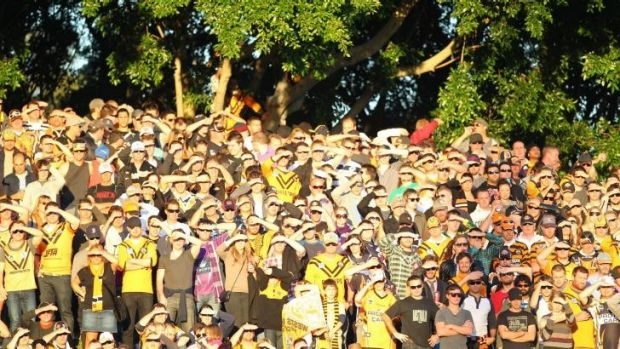 Well supported: Wests Tigers on the hill at Leichhardt Oval.