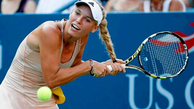 Tangled: Caroline Wozniacki against Aliaksandra Sasnovich at the US Open.