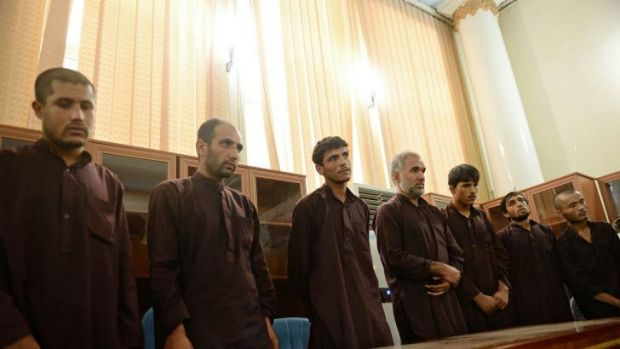 The seven men who gang-raped four women on August 23, stand trial in court in Kabul.