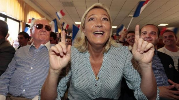 Leader of the National Front Marine Le Pen at a weekend summer university youth meeting with her father Jean Marie Le ...
