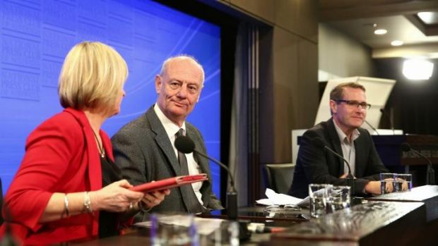 Mr Costello, with Jan Owen and Toby Hall, at the press club.
