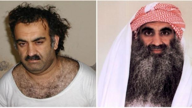 The alleged mastermind of the 9/11 attacks Khalid Sheikh Mohammed, shortly after his capture (left), and in 2009 in ...