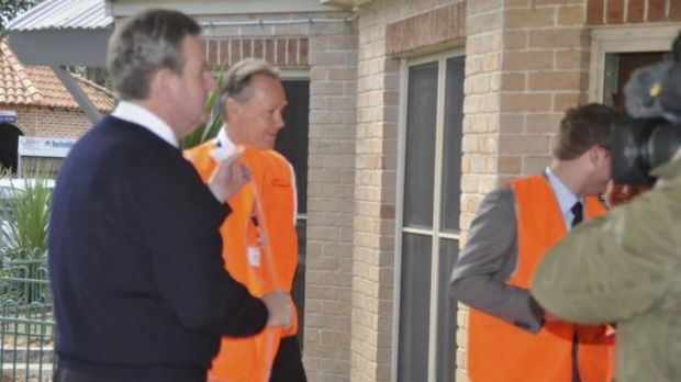 Then premier Barry O'Farrell at Austral Brickworks, where he is greeted by managing director Lindsay Partridge, on July ...