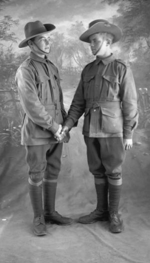 Handing over: Soldiers and friends George Bickerstaff and Joseph McQueen pose for a pre-embarkation photograph.