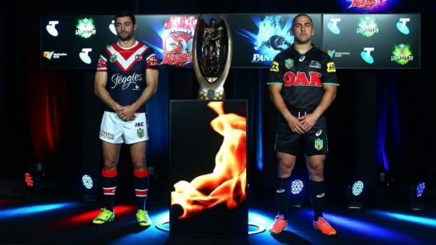"""""""Look at me now"""": Jamie Soward and Roosters opposite Anthony Minichiello at Monday's NRL finals launch."""