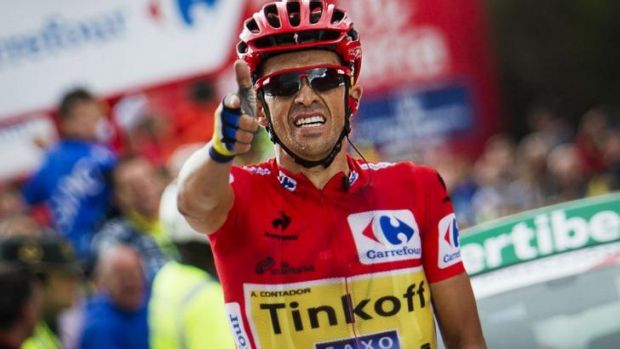 Alberto Contador celebrates as he wins the 16th stage.