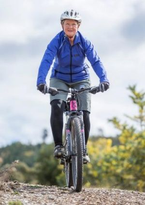 Advocate for women's cycling Lynne Prentice at the Stromlo Forest Park cycling area.