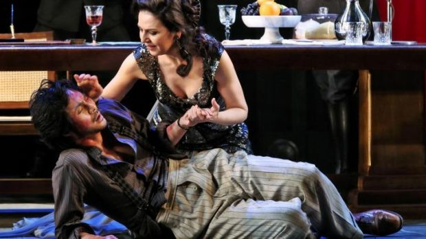 Yonghoon Lee as Cavaradossi and Alexia Voulgaridou as Floria Tosca in <i>Tosca</i>.