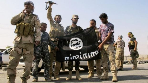 Pro-government Iraqi forces deface the flag of Islamic State after recapturing the northern town of Amerli on September 1.