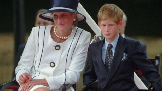 Princess Diana and Prince Harry in 1995: A biography of Diana's younger son claims she was a manipulative, paranoid mother.