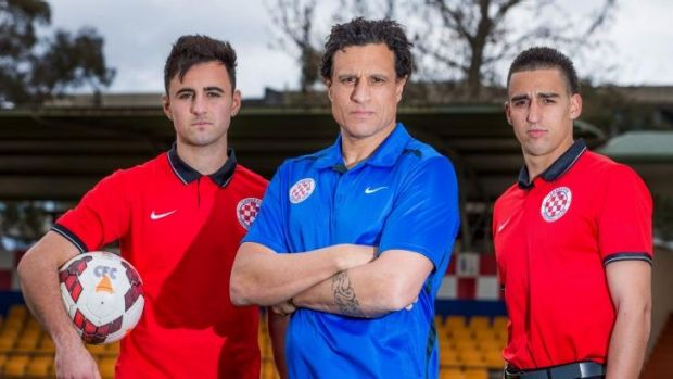 Ready for battle: Canberra FC's James Field, coach Andy Bernal and Josip Jadric are ready for Wednesday's clash with ...