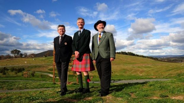 From left, Canberra Scots Athol Chalmers, of Fadden, Jack Arthur, of Holt, and Malcolm Buchanan, of McKellar, ahead of ...