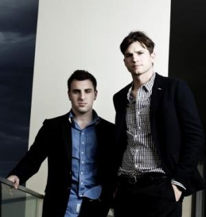 Airbnb co-founder Brian Chesky and Ashton Kutcher, who helped launch it.