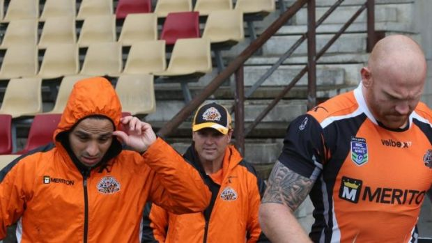 On the way out: Mick Potter (centre) may be finished at the Tigers as early as today.