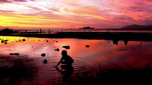 An East Timorese child collects shells to make necklaces on a beach as an Australian navy ship patrols along the shore ...