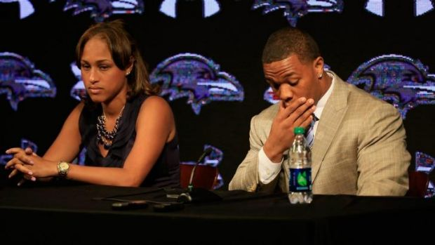 Standing by her man ... Ray Rice with his then fiancee Janay at a media conference in May.