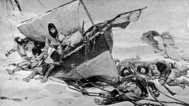 Doomed ... Members of the arctic expedition, circa 1847, led by British explorer Sir John Franklin (1786 - 1847) on ...