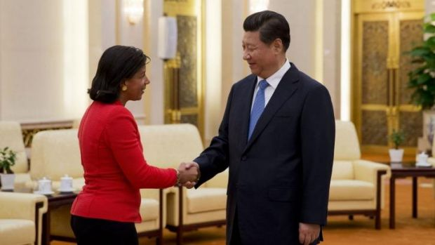US national security adviser Susan Rice shakes hands with Chinese President Xi Jinping.