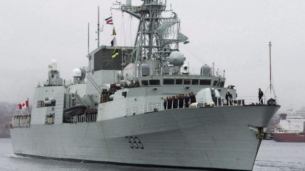 The HMCS Toronto heads out of the harbour in Halifax, Nova Scotia.