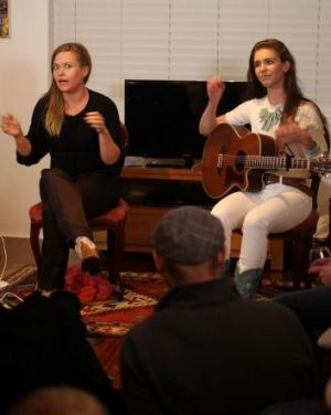 At home: Cait Harris (left) and Fanny Lumsden entertain on an intimate scale.