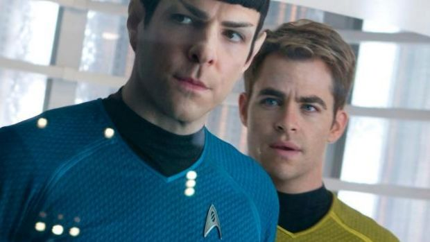 Zachary Quinto in character for Star Trek.