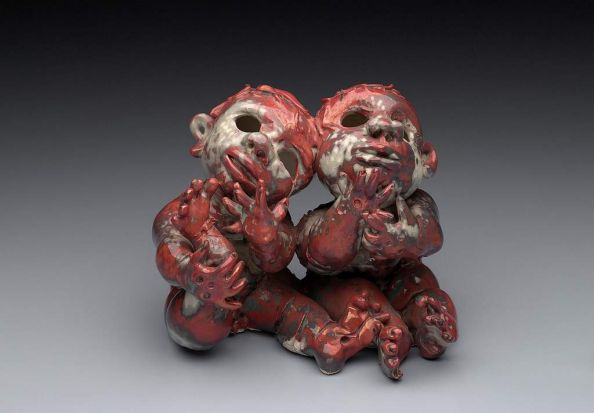 John Perceval - Two Angels, 1961, glazed ceramic