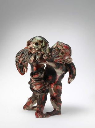 John Perceval - Fighting Angels, 1923-2000, glazed ceramic.