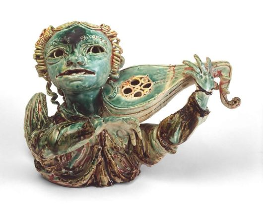 John Perceval - Angel with lute, 1923-2000, glazed ceramic.