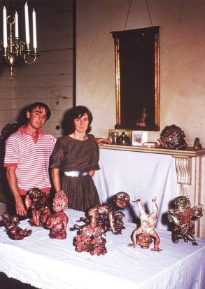 John and Mary Perceval in their Canterbury home with a selection of the angel sculptures in 1960. Image courtesy Celia ...