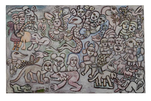 Mirka Mora - Piglets at Anlaby, 1968-92, oil on canvas.