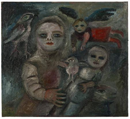Mirka Mora - Flying Child, 1984, oil on canvas.