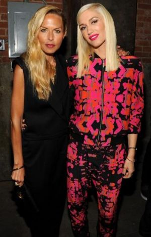 Gwen Stefani, wearing one of her latest designs, with celebrity stylist Rachel Zoe at her L.A.M.B fashion week show.