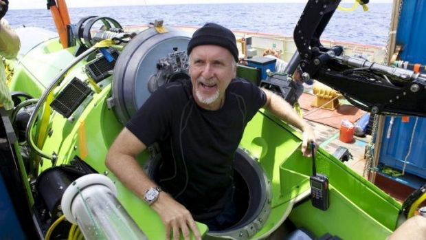 James Cameron on the set of Deepsea Challenge 3D.