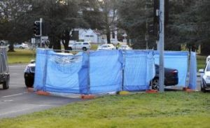 Investigation: Police have erected barriers at the site of the accident.