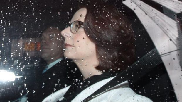 Julia Gillard arrives at the royal commission on Wednesday morning.