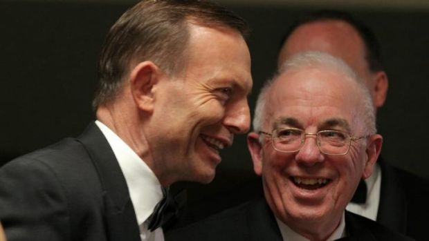 Prime Minister Tony Abbott meets political commentator Gerard Henderson at the National Press Club dinner.