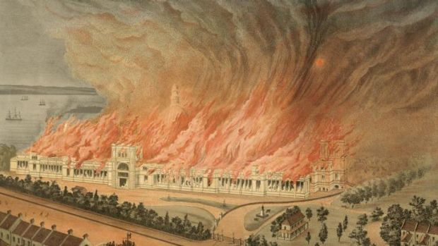 Burning of the Garden Palace, Sydney, September 22, 1882, as seen from Macquarie Street, 1882.