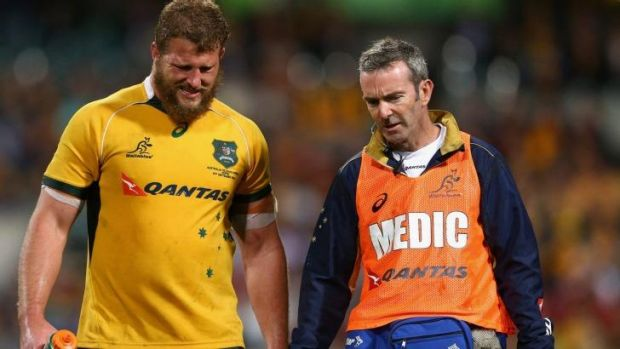 James Slipper walks off with an injured neck against South Africa.