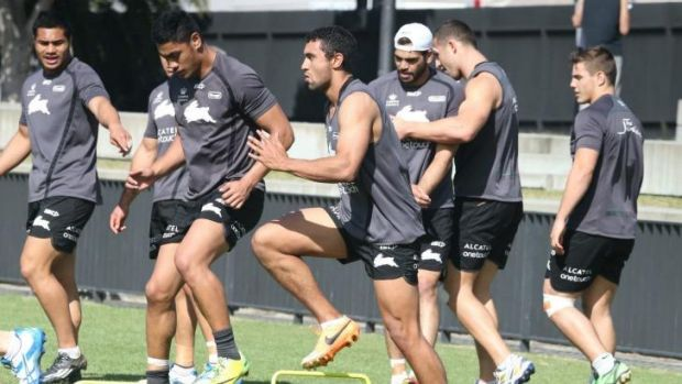 Bunny brigade: Alex Johnston trains with his South Sydney teammates on Tuesday.