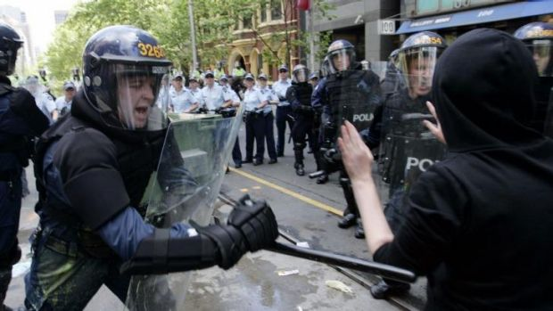 Protesters at the Melbourne G20 meeting in 2006.