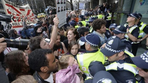 Students protest at Melbourne University.