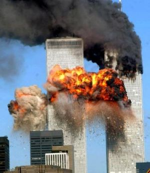Saudi involvement? The World Trade Centre in New York after one of two airliners crashed into it on September 11, 2001.