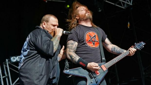 Rob Dukes and Gary Holt of Exodus perform on stage at Bloodstock Open Air Festival in England.