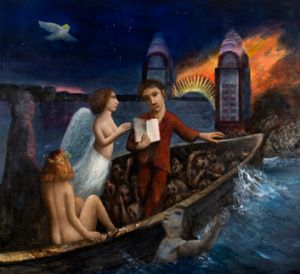 'Dante and Virgil crossing the River Styx', by Garry Shead.