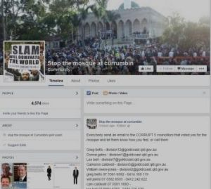 "A screengrab of the ""Stop the mosque at Currumbin"" Facebook page."