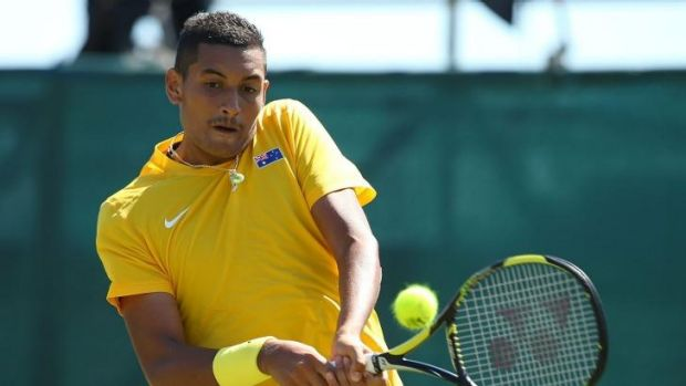 Nick Kyrgios of Australia in action against Denis Istomin of Uzbekistan.
