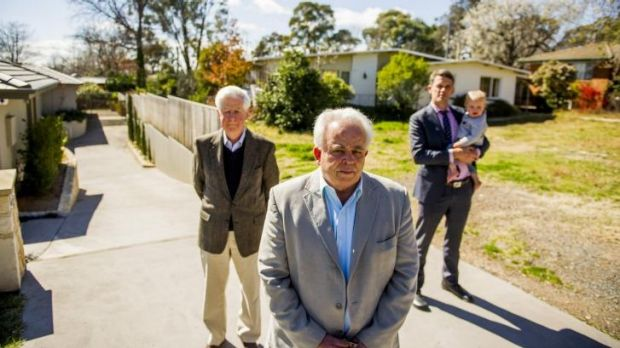: From left, Maurice Deveze, David Templeman and Stephen Gaffey, with his son, Jim, are unhappy with  a development ...