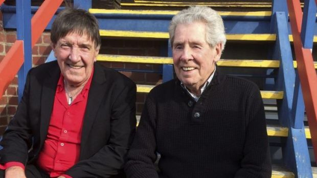 Fred Cook, left, with fellow Port Melbourne Team of the Century member, Bob Bonnett.