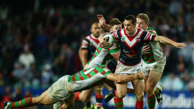 On the run: Mitchell Pearce.