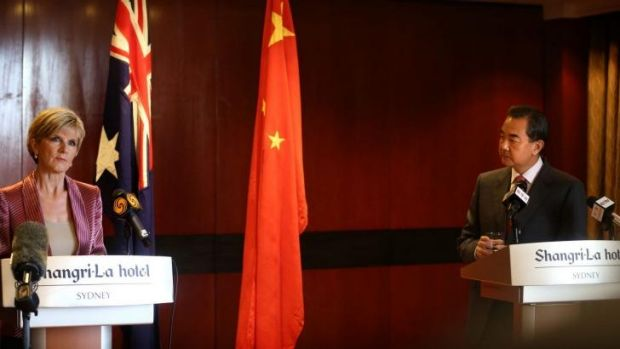 Julie Bishop with her Chinese counterpart Wang Yi last week.